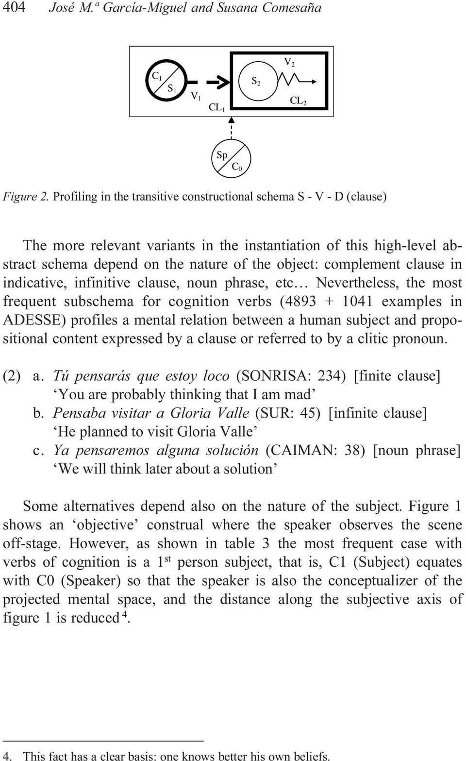 clause in indicative, infinitive clause, noun phrase, etc Nevertheless, the most frequent subschema for cognition verbs (4893 + 1041 examples in ADESSE) profiles a mental relation between a human