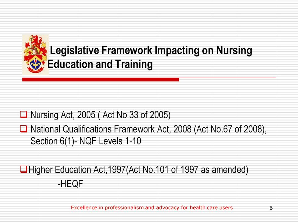 67 of 2008), Section 6(1)- NQF Levels 1-10 Higher Education Act,1997(Act No.