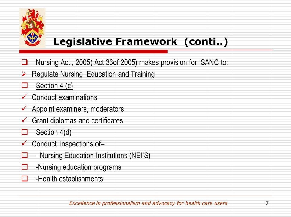 Section 4 (c) Conduct examinations Appoint examiners, moderators Grant diplomas and certificates Section