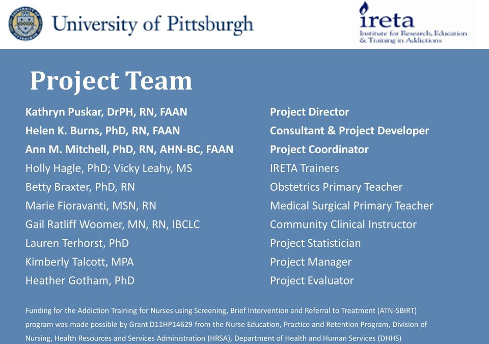 Heather Gotham, PhD Project Director Consultant & Project Developer Project Coordinator IRETA Trainers Obstetrics Primary Teacher Medical Surgical Primary Teacher Community Clinical Instructor