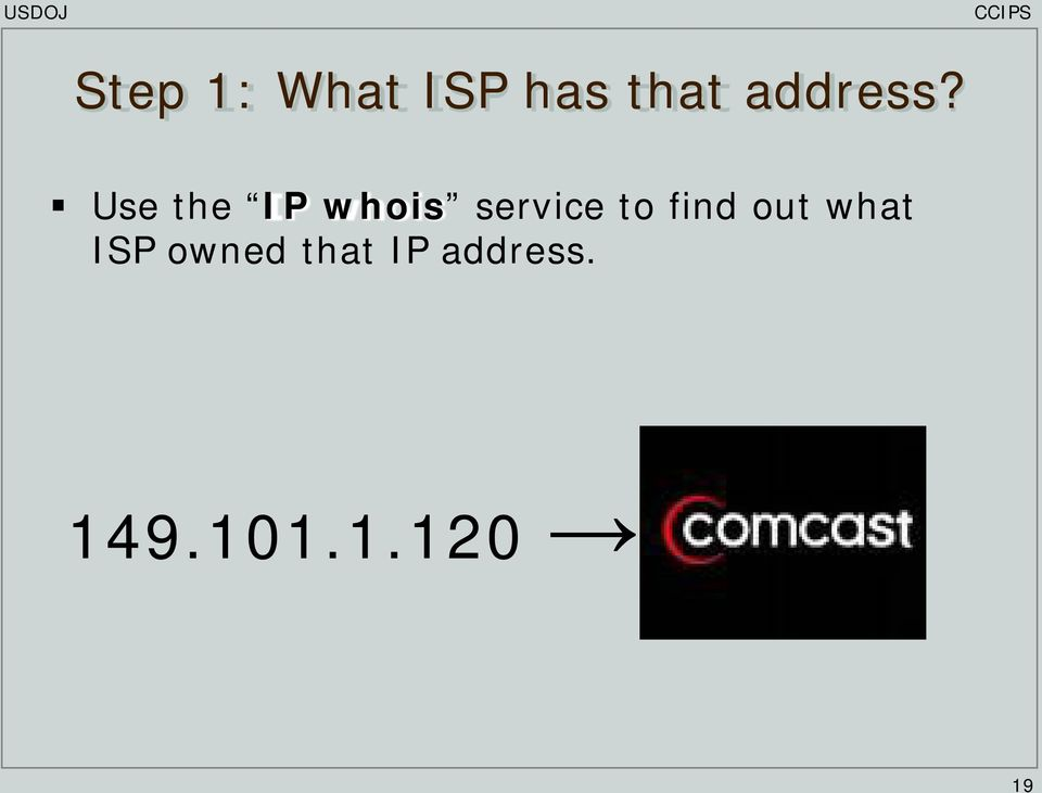 Use the IP whois service to