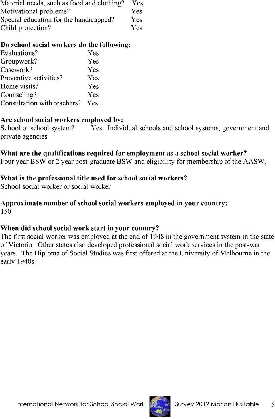 . Individual schools and school systems, government and private agencies What are the qualifications required for employment as a school social worker?