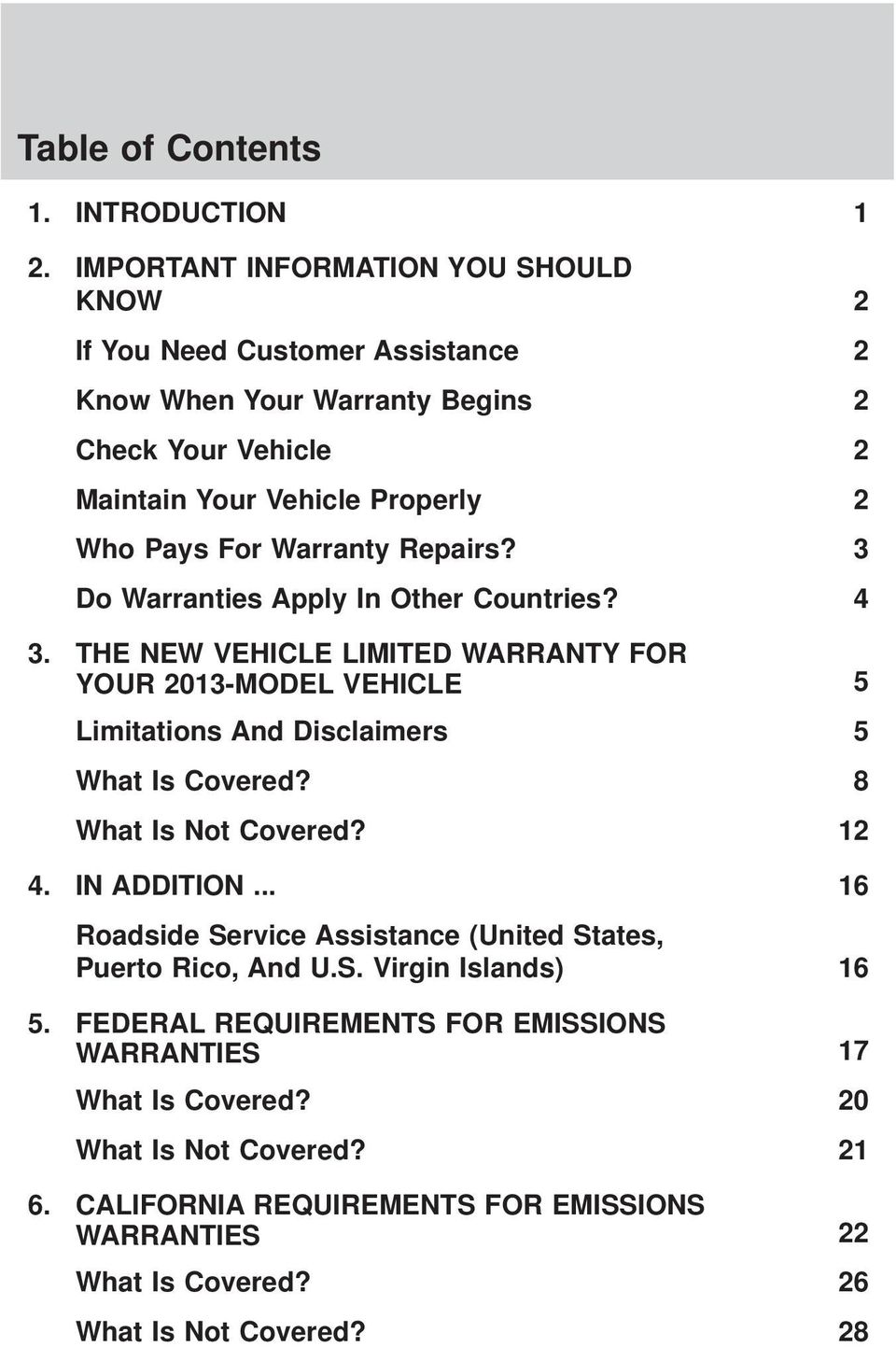 Warranty Repairs? 3 Do Warranties Apply In Other Countries? 4 3. THE NEW VEHICLE LIMITED WARRANTY FOR YOUR 2013-MODEL VEHICLE 5 Limitations And Disclaimers 5 What Is Covered?