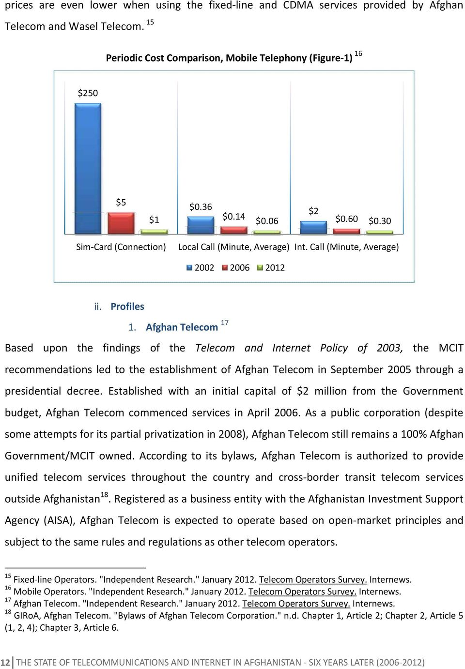 Afghan Telecom 17 Based upon the findings of the Telecom and Internet Policy of 2003, the MCIT recommendations led to the establishment of Afghan Telecom in September 2005 through a presidential