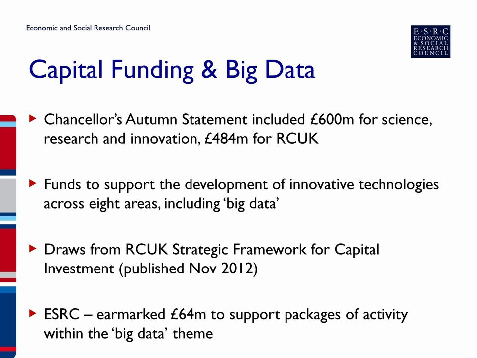 across eight areas, including big data Draws from RCUK Strategic Framework for Capital