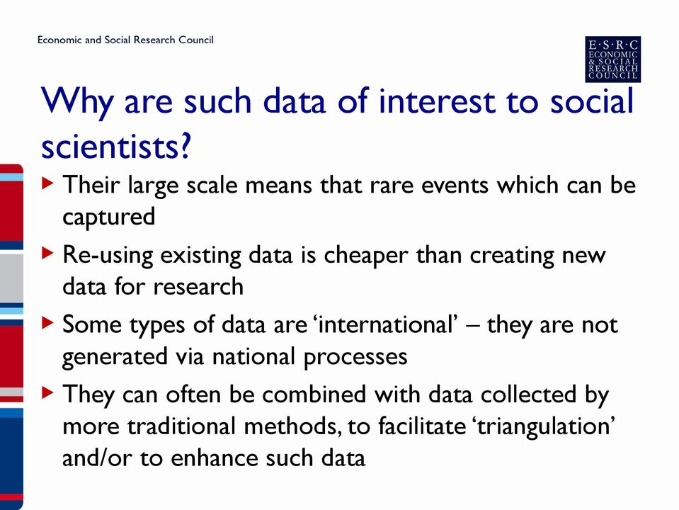 than creating new data for research Some types of data are international they are not generated via