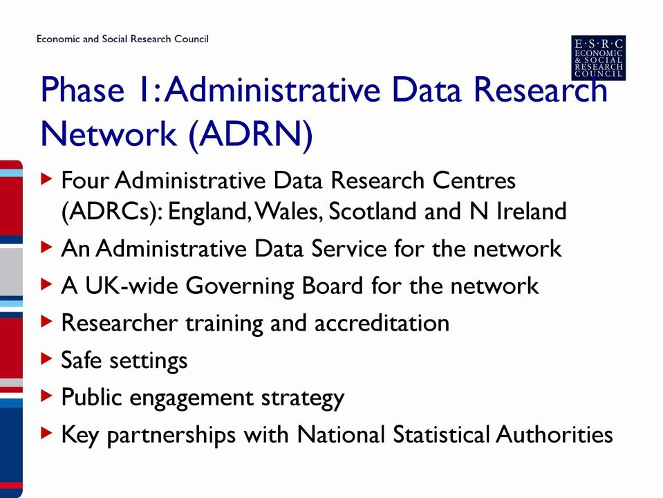 the network A UK-wide Governing Board for the network Researcher training and accreditation