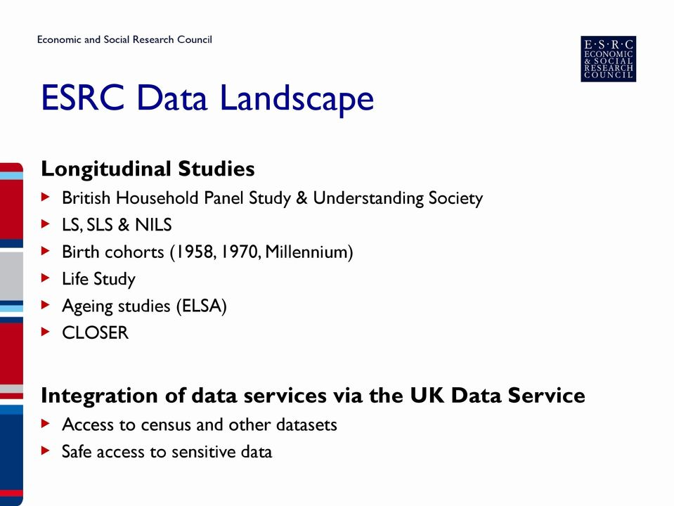 Life Study Ageing studies (ELSA) CLOSER Integration of data services via the