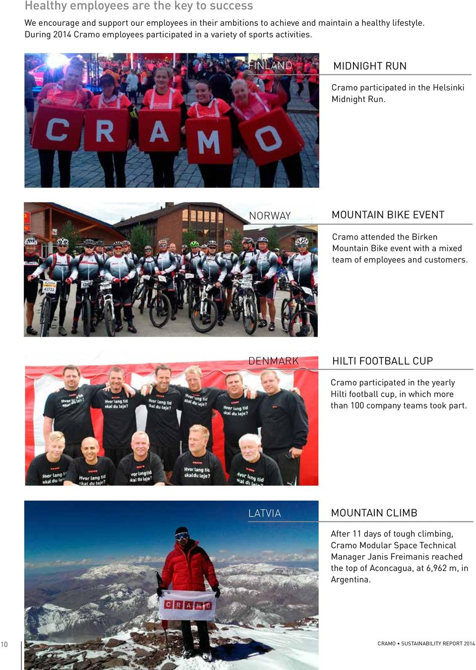 NORWAY MOUNTAIN BIKE EVENT Cramo attended the Birken Mountain Bike event with a mixed team of employees and customers.