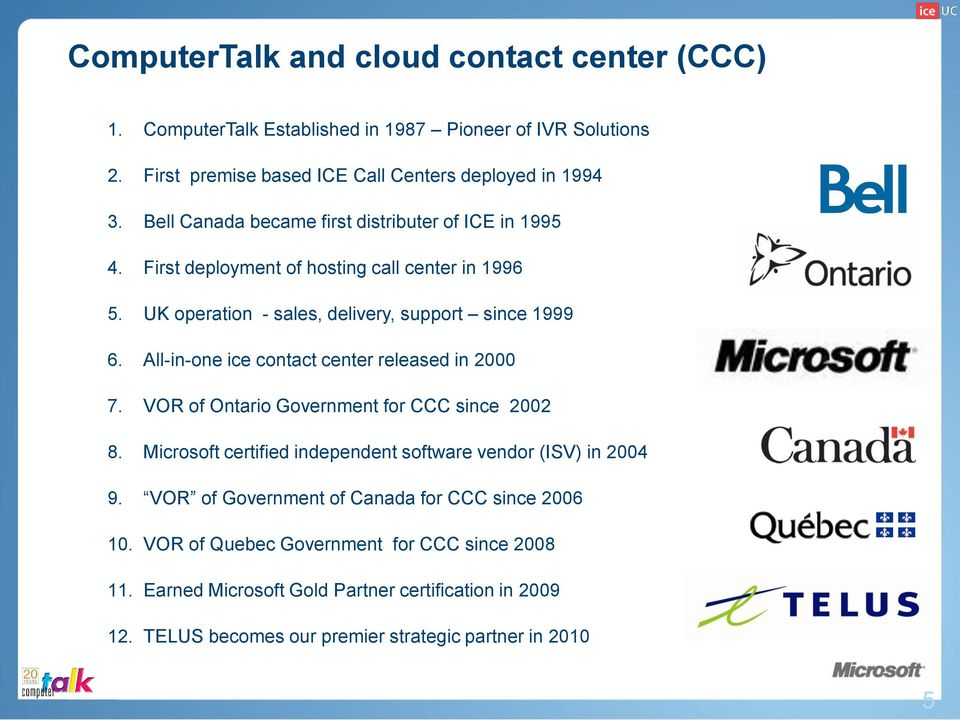 All-in-one ice contact center released in 2000 7. VOR of Ontario Government for CCC since 2002 8. Microsoft certified independent software vendor (ISV) in 2004 9.