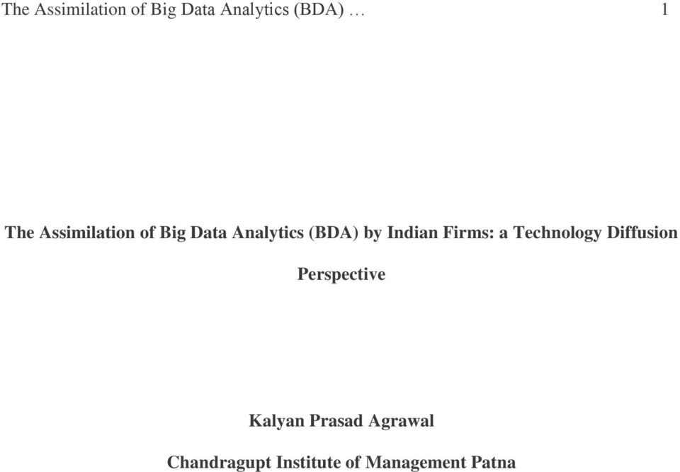 Firms: a Technology Diffusion Perspective Kalyan