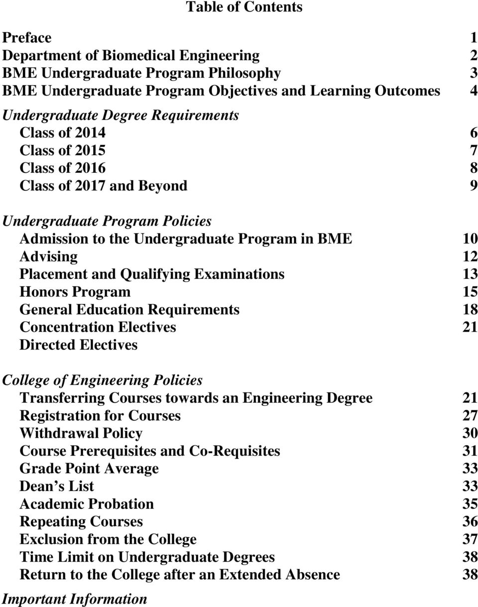 Qualifying Examinations 13 Honors Program 15 General Education Requirements 18 Concentration Electives 21 Directed Electives College of Engineering Policies Transferring Courses towards an