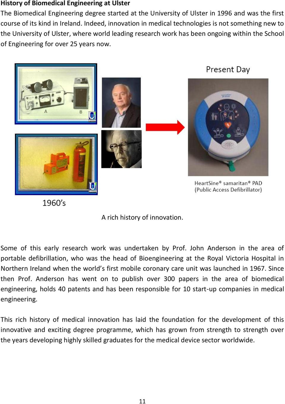 A rich history of innovation. Some of this early research work was undertaken by Prof.
