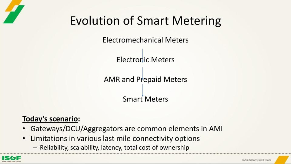Gateways/DCU/Aggregators are common elements in AMI Limitations in