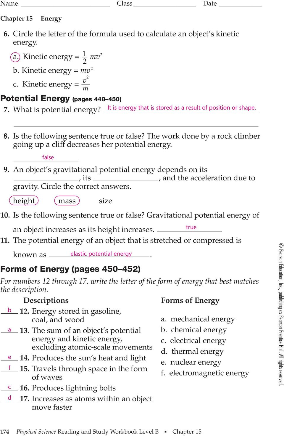 Section 151 Energy and Its Forms pages PDF – Energy Transformation Worksheet Answers
