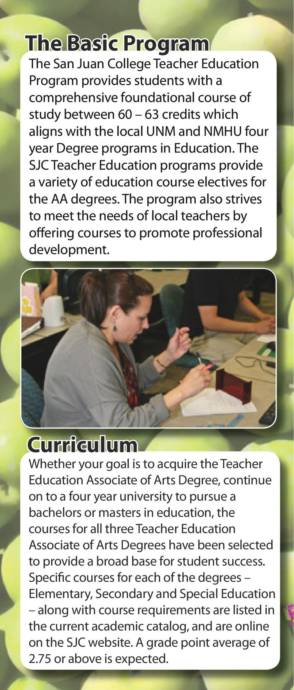The program also strives to meet the needs of local teachers by offering courses to promote professional development.