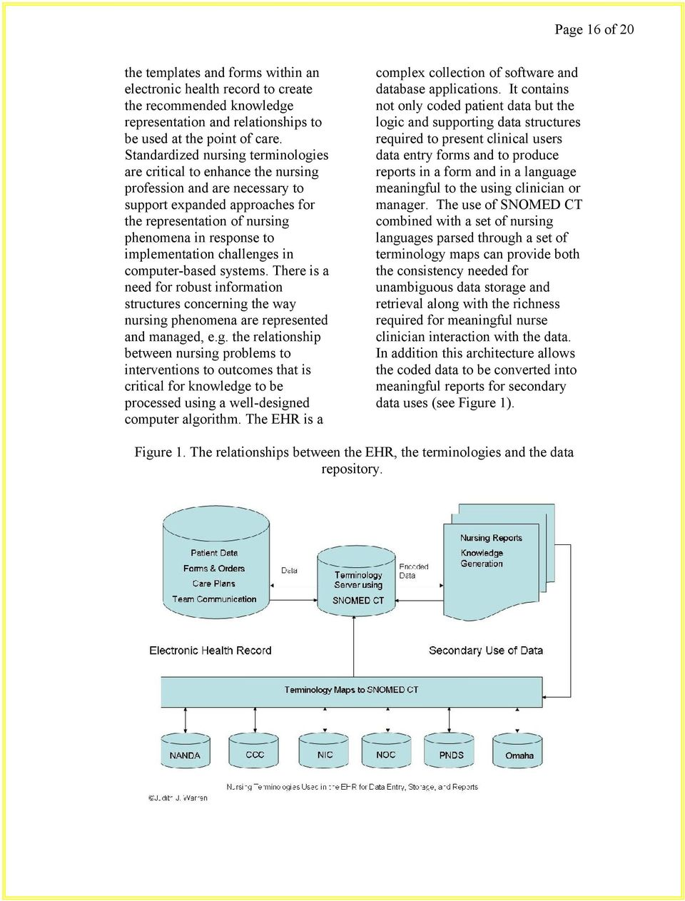 implementation challenges in computer-based systems. There is a need for robust information structures concerning the way nursing phenomena are represented and managed, e.g. the relationship between nursing problems to interventions to outcomes that is critical for knowledge to be processed using a well-designed computer algorithm.