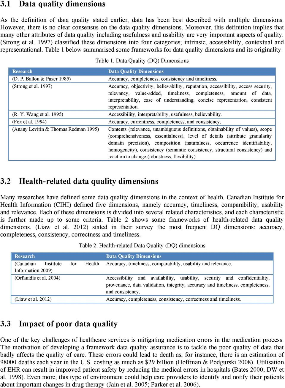 Moreover, this definition implies that many other attributes of data quality including usefulness and usability are very important aspects of quality. (Strong et al.