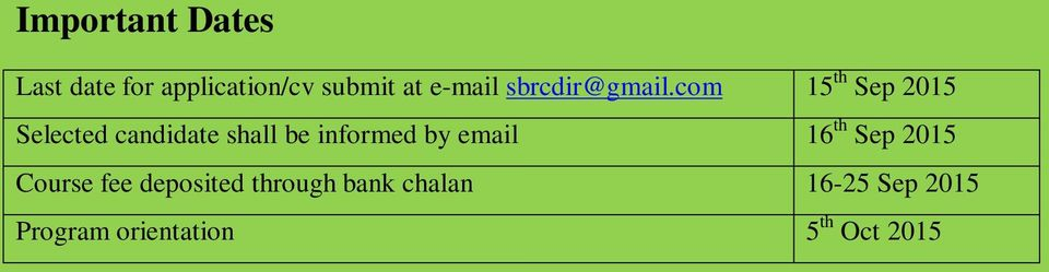com 15 th Sep 2015 Selected candidate shall be informed by