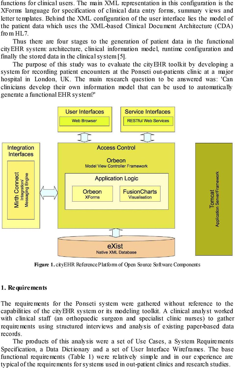 Thus there are four stages to the generation of patient data in the functional cityehr system: architecture, clinical information model, runtime configuration and finally the stored data in the