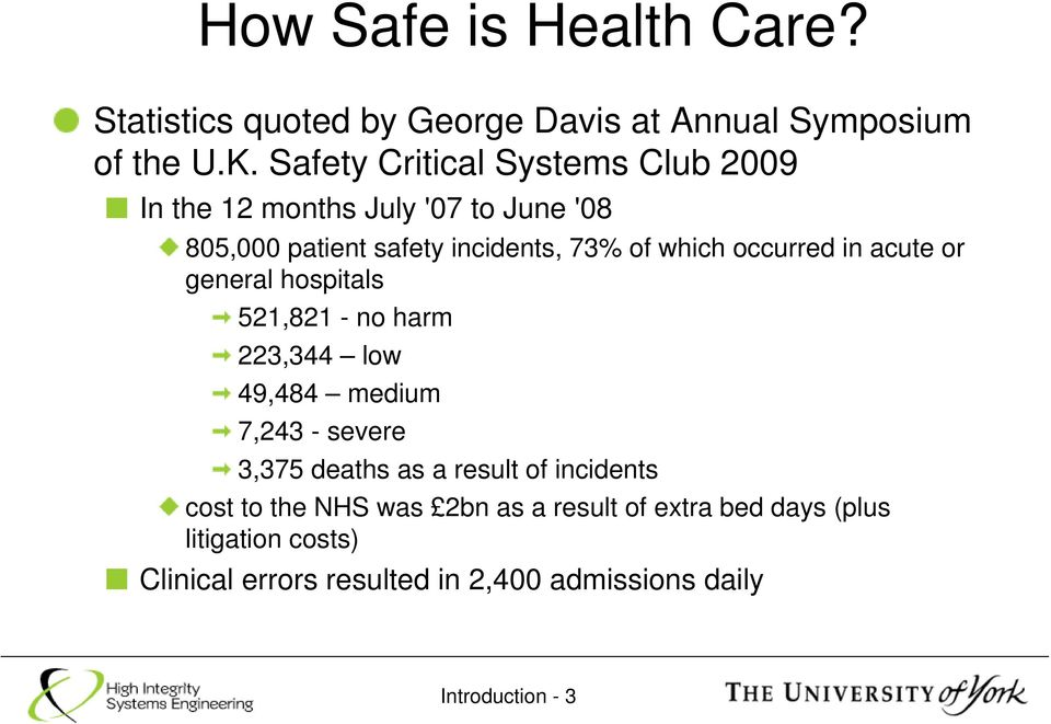 occurred in acute or general hospitals 521,821 - no harm 223,344 low 49,484 medium 7,243 - severe 3,375 deaths as a result
