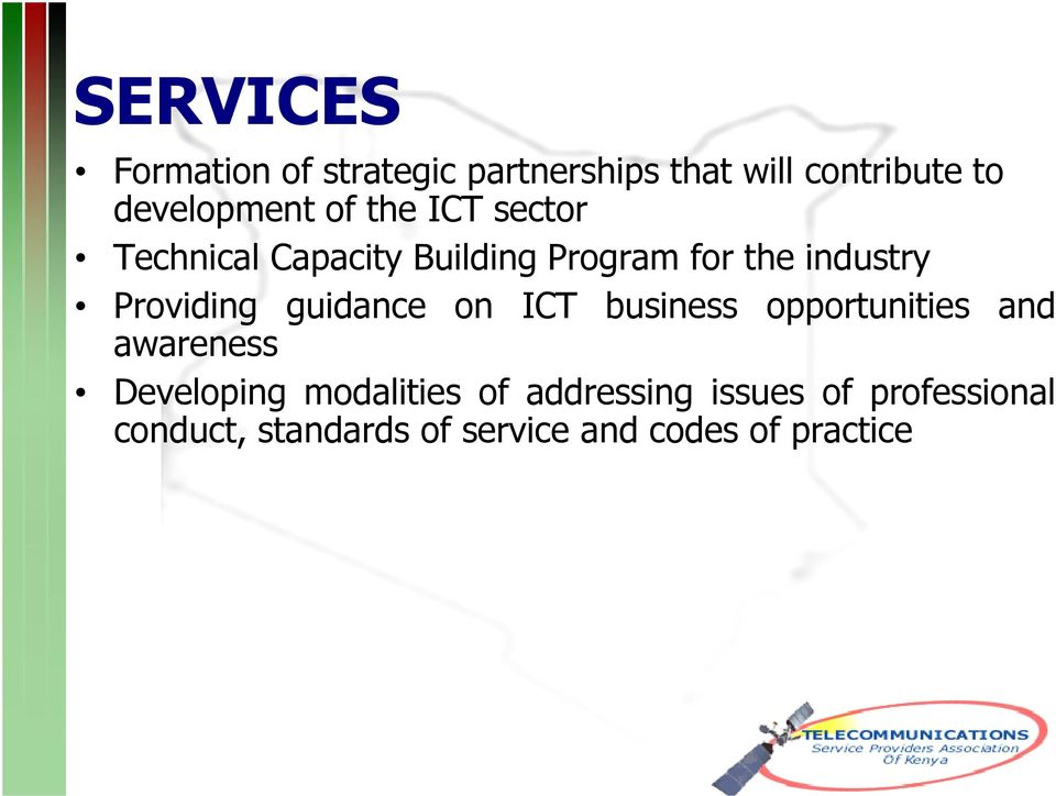 guidance on ICT business opportunities and awareness Developing modalities of