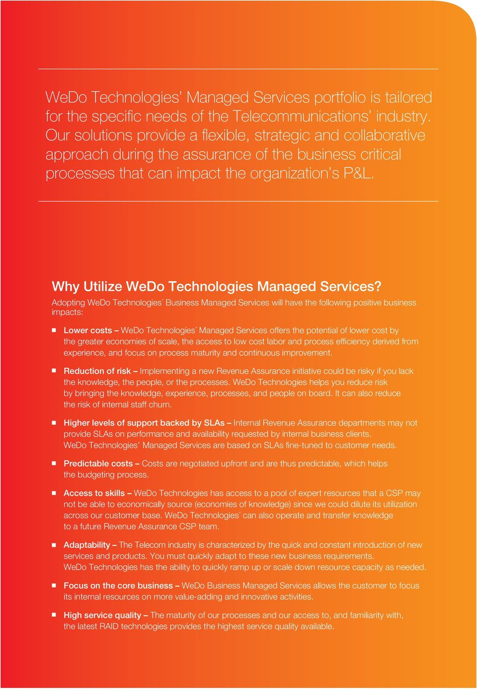 Why Utilize WeDo Technologies Managed Services?