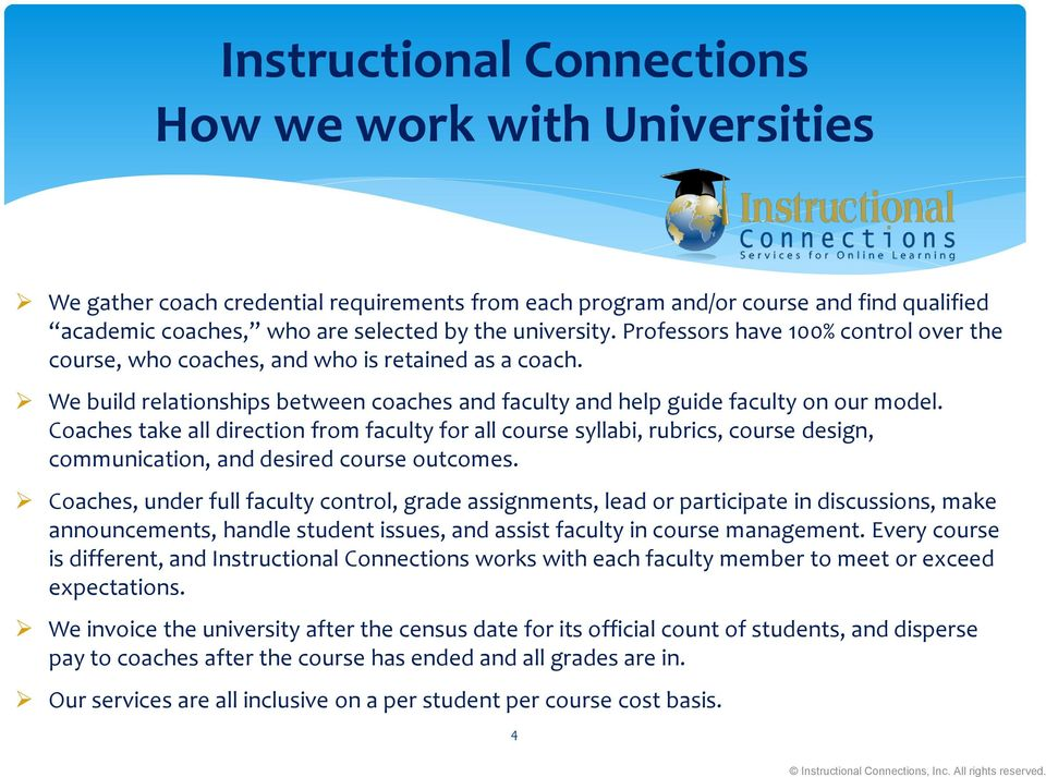 Coaches take all direction from faculty for all course syllabi, rubrics, course design, communication, and desired course outcomes.