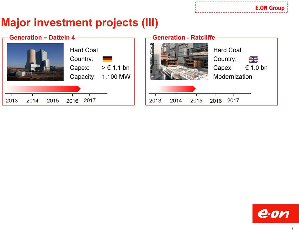 100 MW Generation - Ratcliffe Hard Coal Country: Capex: 1.