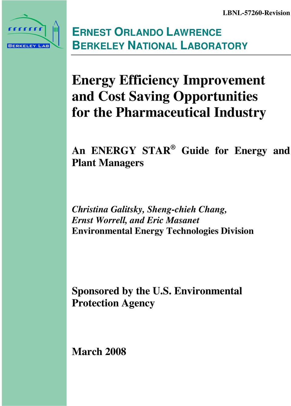 Managers Guide for Energy and Christina Galitsky, Sheng-chieh Chang, Ernst Worrell, and Eric