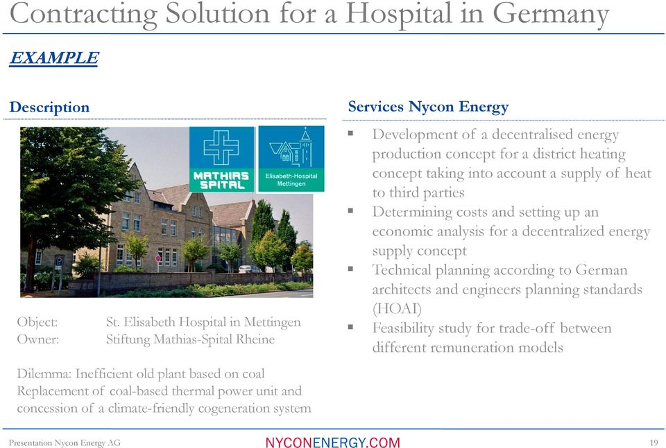 climate-friendly cogeneration system Services Nycon Energy Development of a decentralised energy production concept for a district heating concept taking into account a supply of