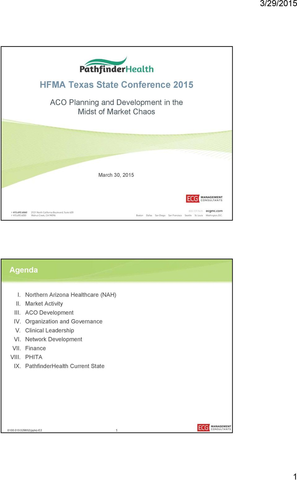 Market Activity III. ACO Development IV. Organization and Governance V.