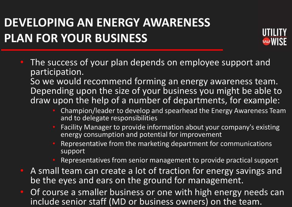 delegate responsibilities Facility Manager to provide information about your company's existing energy consumption and potential for improvement Representative from the marketing department for