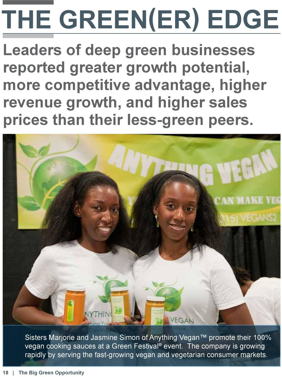 Sisters Marjorie and Jasmine Simon of Anything Vegan promote their 100% vegan cooking sauces at a Green