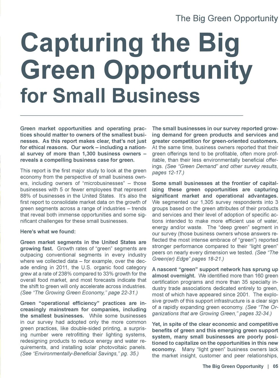 This report is the first major study to look at the green economy from the perspective of small business owners, including owners of microbusinesses those businesses with 5 or fewer employees that