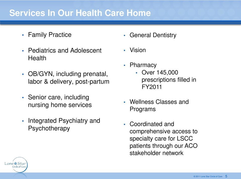 Psychotherapy General Dentistry Vision Pharmacy Over 145,000 prescriptions filled in FY2011 Wellness Classes