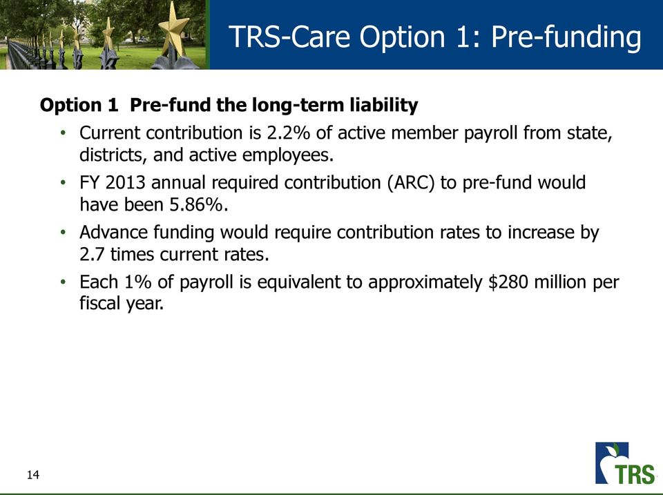 FY 2013 annual required contribution (ARC) to pre-fund would have been 5.86%.