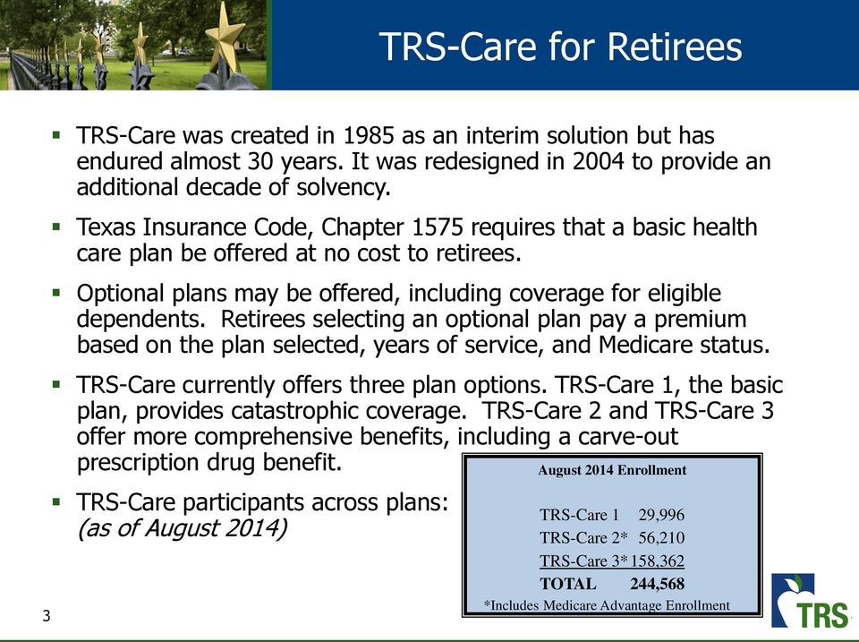 Retirees selecting an optional plan pay a premium based on the plan selected, years of service, and Medicare status. TRS-Care currently offers three plan options.