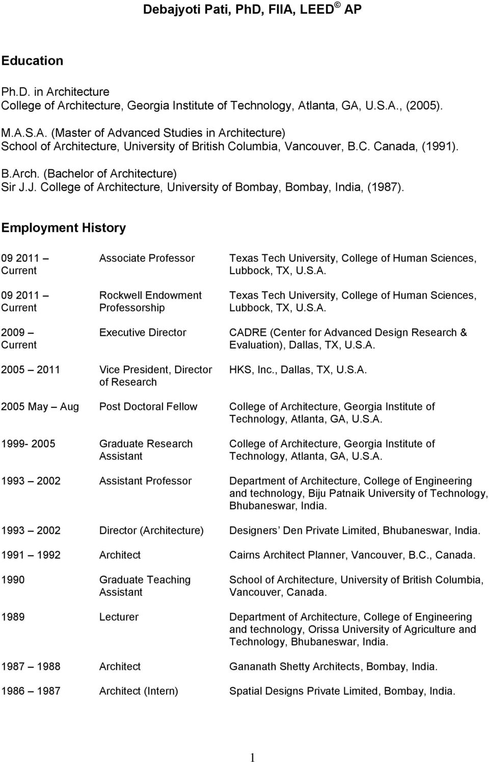 Employment History 09 2011 Current 09 2011 Current 2009 Current Associate Professor Rockwell Endowment Professorship Executive Director Texas Tech University, College of Human Sciences, Lubbock, TX,