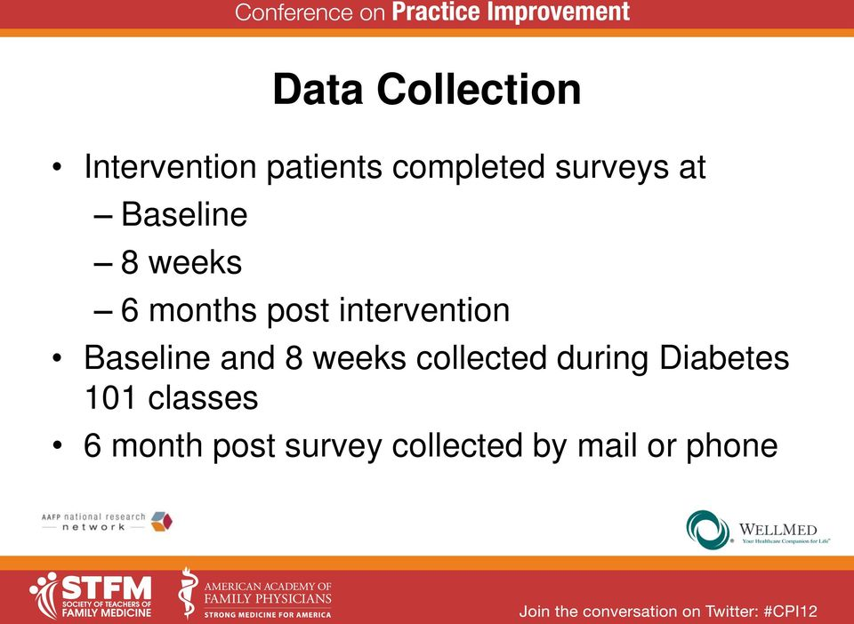 intervention Baseline and 8 weeks collected during