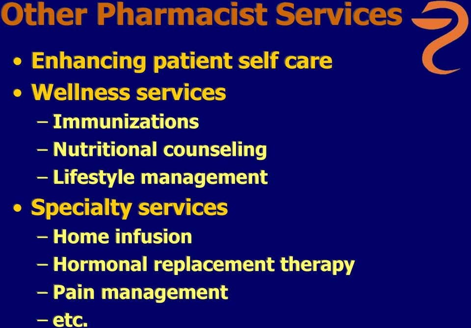 counseling Lifestyle management Specialty services
