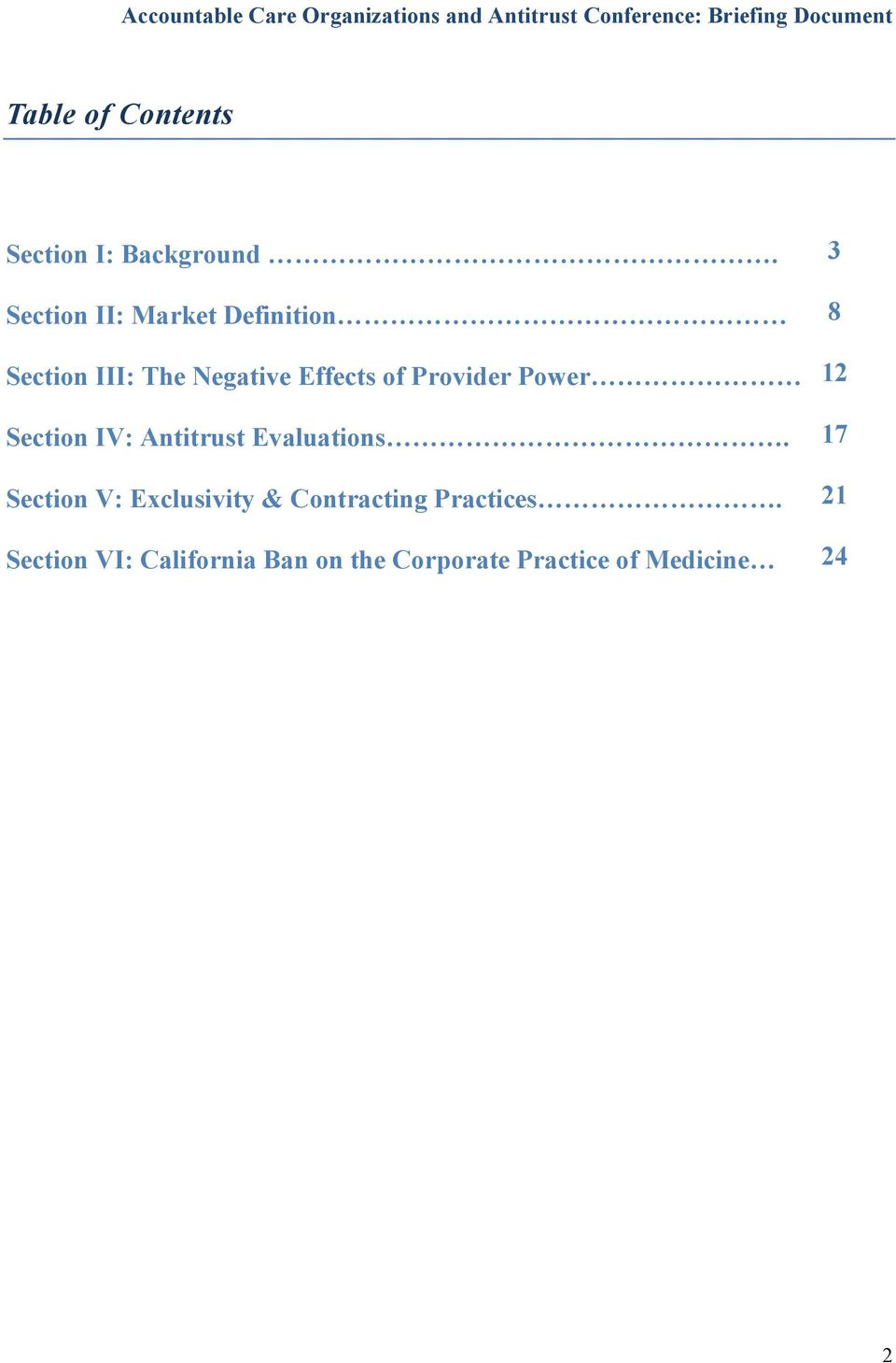 Provider Power Section IV: Antitrust Evaluations.