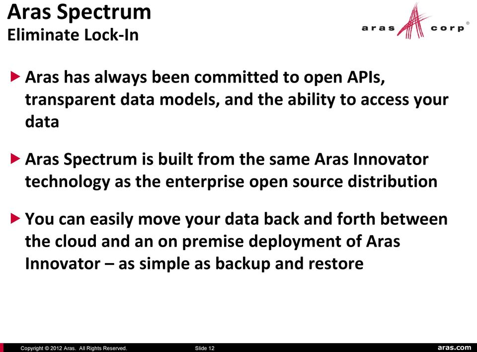 your data Aras Spectrum is built from the same Aras Innovator technology as the enterprise open source