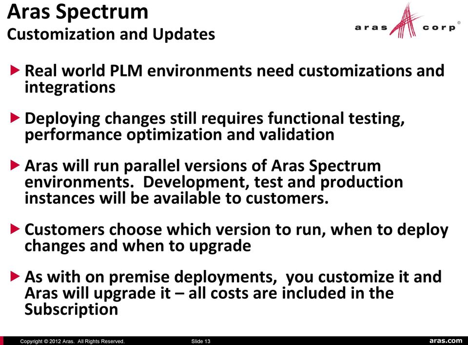 optimization and validation Aras will run parallel versions of Aras Spectrum environments.