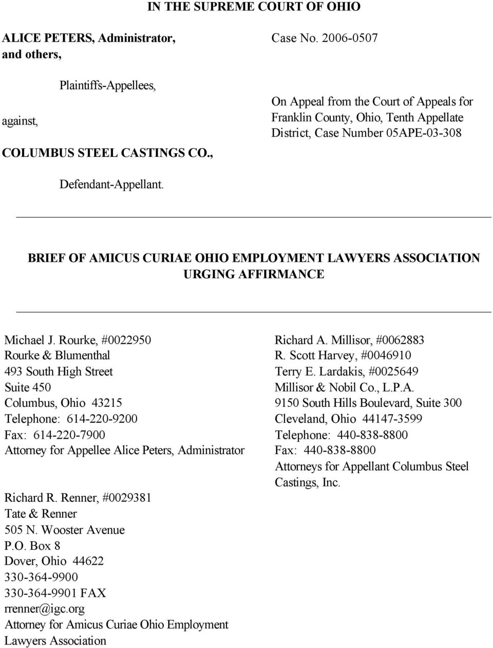 BRIEF OF AMICUS CURIAE OHIO EMPLOYMENT LAWYERS ASSOCIATION URGING AFFIRMANCE Michael J.