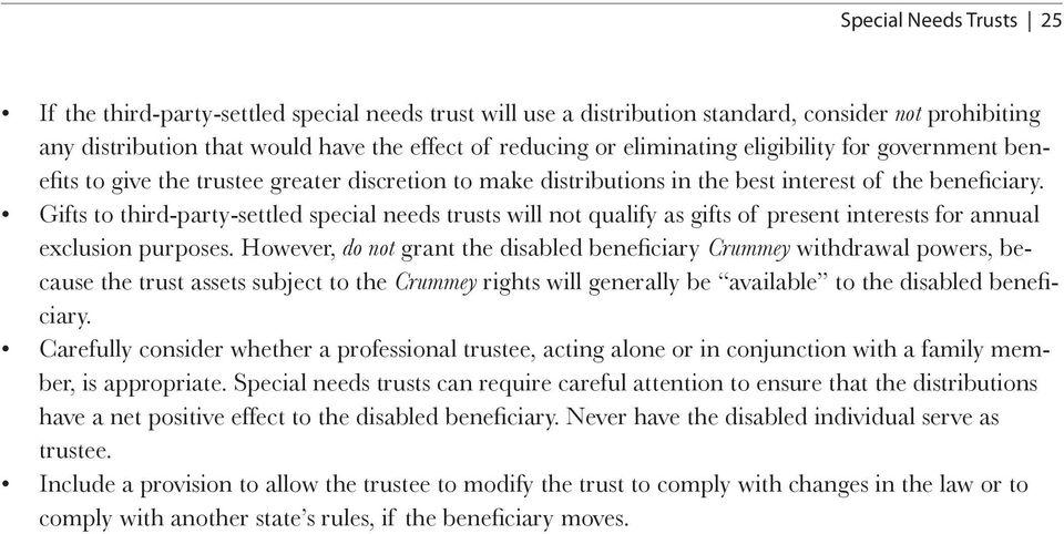 Gifts to third-party-settled special needs trusts will not qualify as gifts of present interests for annual exclusion purposes.
