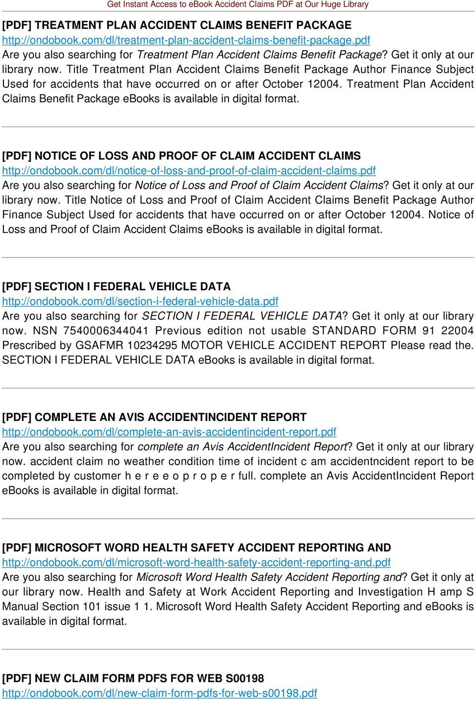 Title Treatment Plan Accident Claims Benefit Package Author Finance Subject Used for accidents that have occurred on or after October 12004.