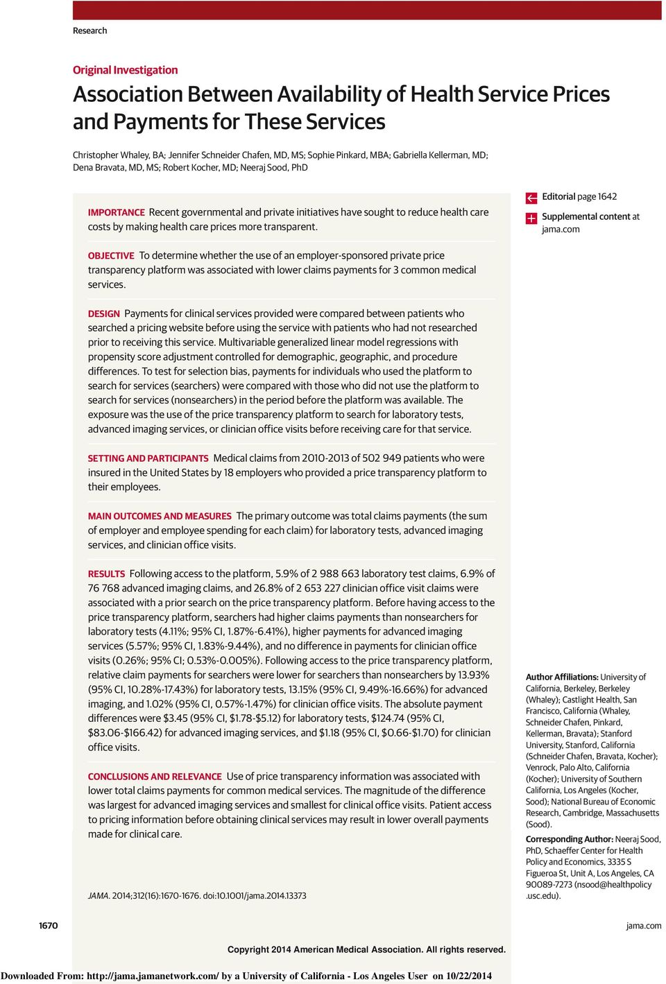 care prices more transparent. Editorial page 1642 Supplemental content at jama.