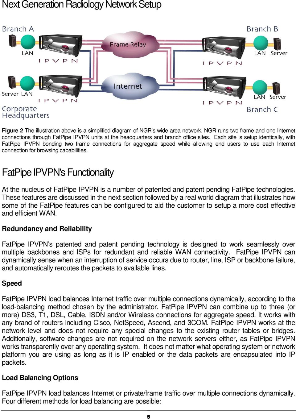 Each site is setup identically, with FatPipe IPVPN bonding two frame connections for aggregate speed while allowing end users to use each Internet connection for browsing capabilities.