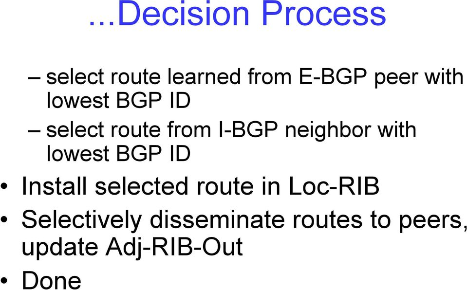 lowest BGP ID Install selected route in Loc-RIB